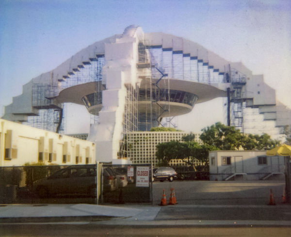 Airport Architecture Building Building Exterior Built Structure Clear Sky Day Famous Place Flying Saucer LAX Modern Outdoors Renovation Profect Scaffolding Space Age Theme Building