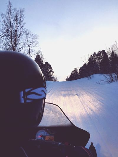 Snowmobiling Snowmobile Winter Snow Cold Temperature Transportation Sky Land Vehicle Bare Tree Mode Of Transport Lifestyles Northern Norway Outside Cold Weather Vehicle Interior Car Tree Car Interior Day One Person Nature Landscape Outdoors Close-up Vehicle Mirror