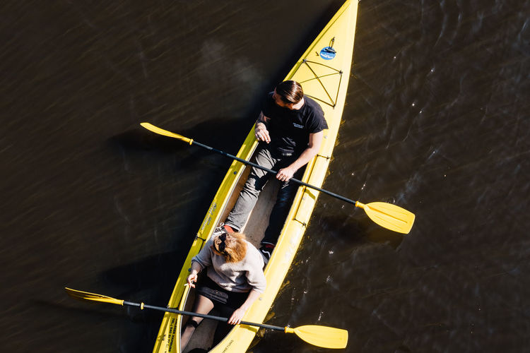 High angle view of men in boat