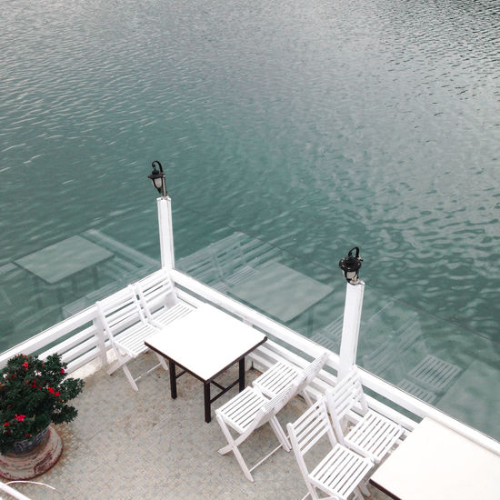 . Restaurant with white tone colors and follow the French architecture. Beauty In Nature City Exploring France Holiday Lake Minimalism Minimalist Outdoors Relaxing Restaurant Urban Water White