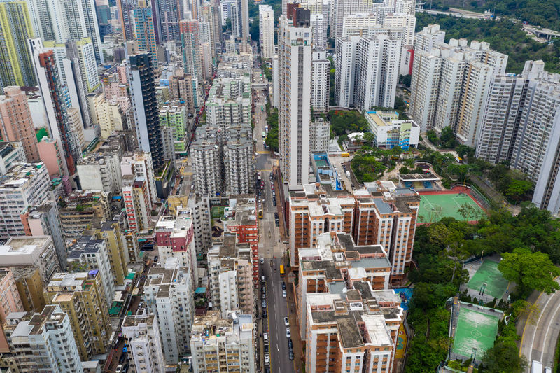 Top view of Hong Kong city Hong Kong City Downtown Urban Sham Shui Po Kowloon Side District Mong Kok Outdoor View Top Aerial Building Drone  Architecture Business China Financial Skyscraper Tall Perspective Fly Over Above Down Top Down Bird Eye Hk Hong Kong Public House Apartment Residential