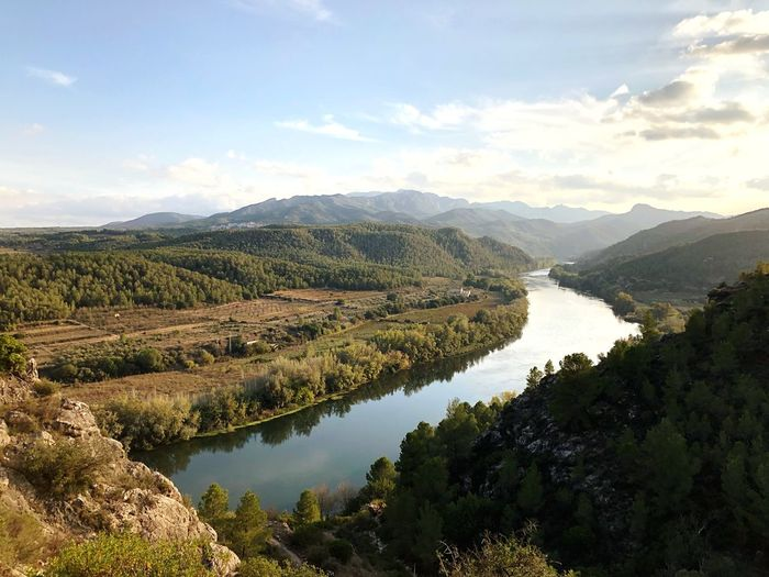 Ebro desde Miravet Water Beauty In Nature Scenics - Nature Sky Tranquility Tree Cloud - Sky Nature No People Reflection Landscape Tranquil Scene Environment Mountain First Eyeem Photo