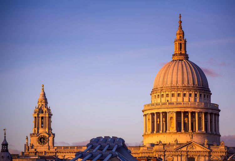 St. Paul's Cathedral by sunset St. Paul's Cathedral International Landmark Architecture Built Structure Dome Building Exterior Place Of Worship Spirituality Travel Destinations City Religion London U.K. Church Of England Sir Christopher Wren Paul The Apostle English Baroque Great Fire Of London Millenium Bridge