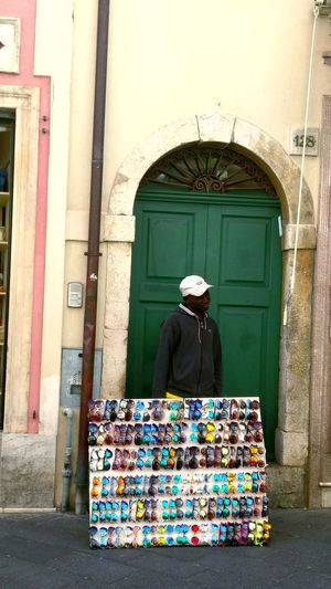 Glasses Door Building Exterior Built Structure Multi Colored Day Architecture Outdoors African Man Sicily,italy Sicilian Streets Adults Only One Person People Adult City