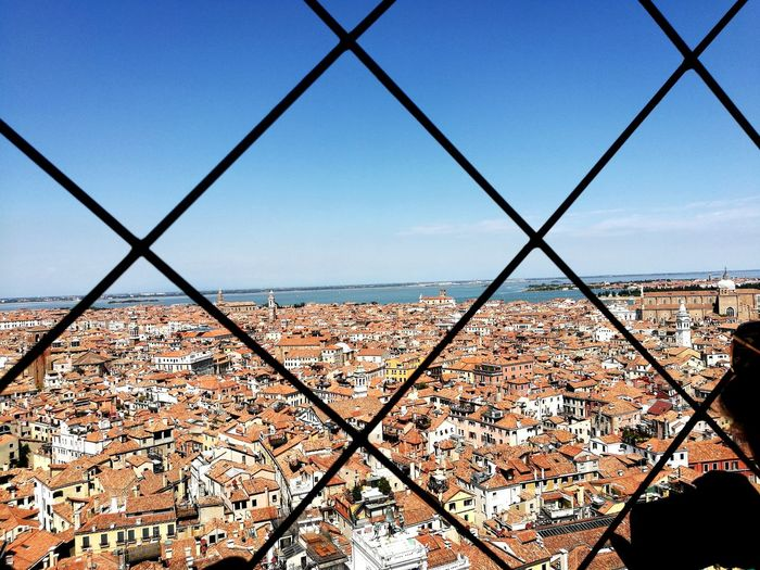 EyeEm Selects Chainlink Fence Metal Sky Day Protection Outdoors Cage No People Clear Sky Exclusion Nature Cityscape Close-up City Love Travel Venice, Italy Vacations Italy Beauty Architecture Travel Destinations Canal Tourism