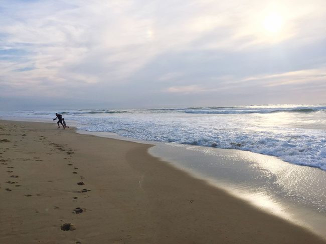 Fatherhood Moments Father And Son Family Beach Sea Sand Water Shore Scenics Tranquil Scene Horizon Over Water Vacations Beauty In Nature Tourism Cloud - Sky Sky Travel Destinations Coastline Nature Non-urban Scene Majestic Summer