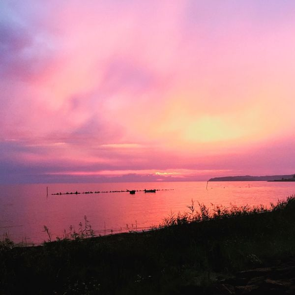 Thiessow Sunset Water Tranquil Scene Scenics Tranquility Beauty In Nature Calm Transportation Sky Idyllic Sea Majestic Nature Silhouette Cloud Awe Cloud - Sky Non-urban Scene Dramatic Sky