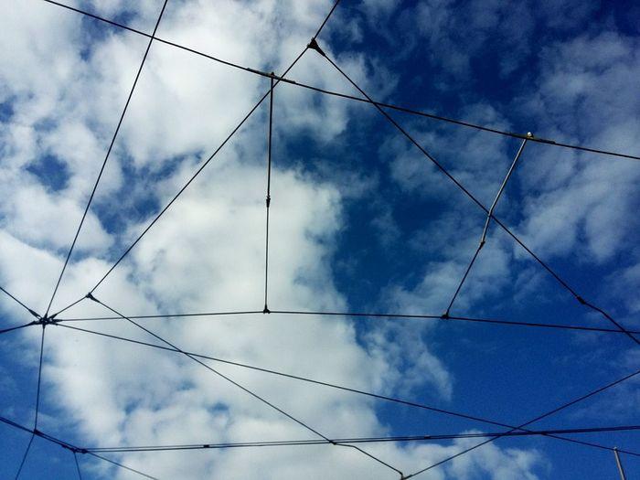 Lisbon Portugal Sky Clouds And Sky Electricity  Blue Fio Eléctrico Railway Tram Cable
