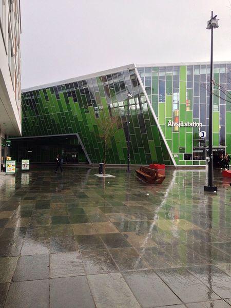 Rain Reflection Glass - Material Architecture Green Stockholm Stockholm, Sweden Sweden Älvsjö Station