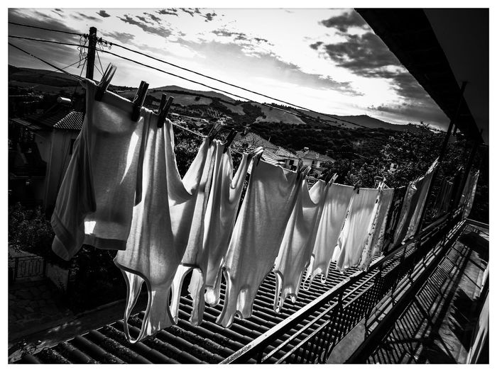 Village clothesline No People Day Outdoors Low Angle View Drying Sky Close-up NewHere ✌🏽️😄 Village Old Buildings Greece Hanging Clothesline