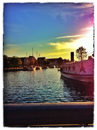 Abend Strom Wasserfarben Brücke Sunset_collection