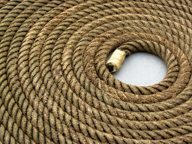 Coiled rope on a boat Boating Brown Close-up Coil Full Frame Pattern Rope Spiral