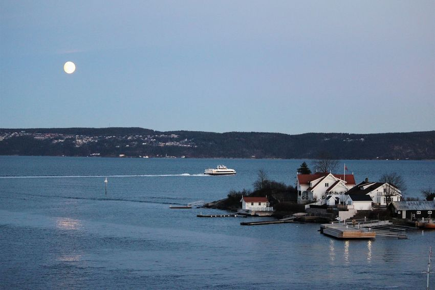 Moon Sea Nautical Vessel Outdoors No People Water Sky Nature Day Harbor Clear Sky Architecture Sailing Tall Ship Sailing Ship Oslofjord Norway