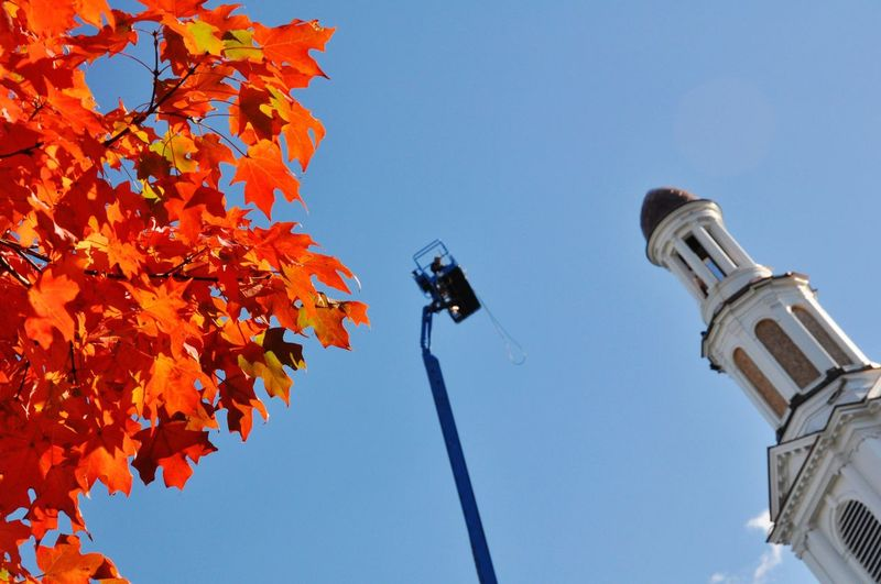 Low angle view of maple tree by tower against clear blue sky