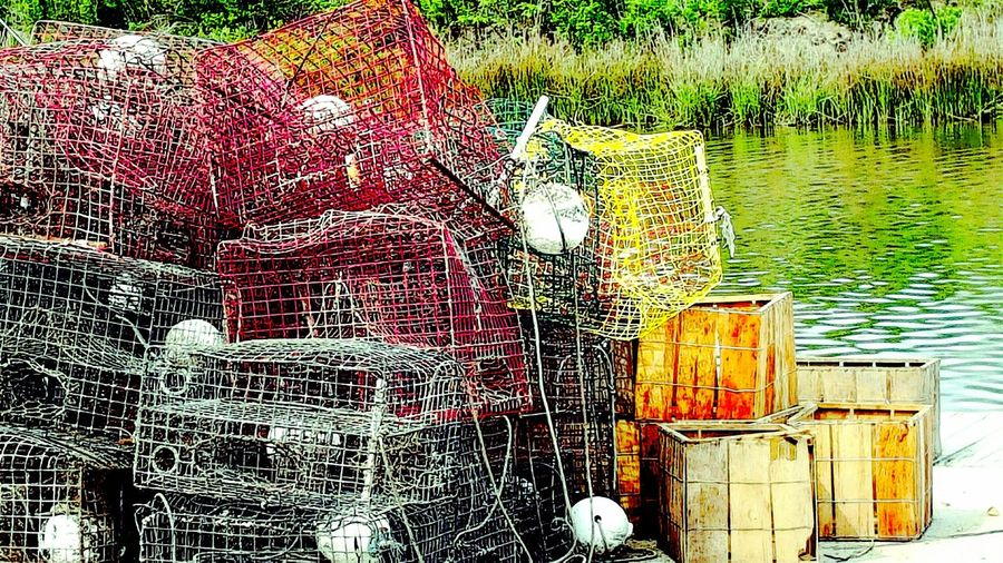 Bayou Fis Built Structure Crab Traps Crabbing Gea Day Fishermen Trap Fishing Metal Metal Trap Nautical Vessel Rusty Water Wooden Boxes