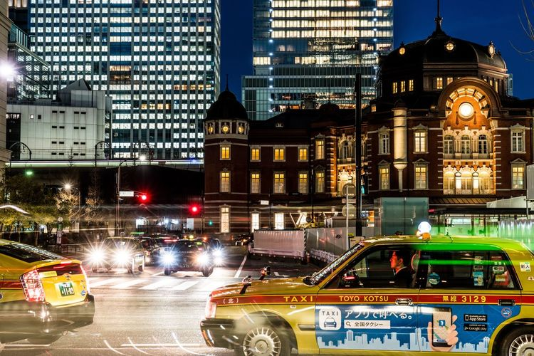 Tokyo Central Station Japanese Taxi Tokyo,Japan City Architecture Building Exterior Illuminated Built Structure Street Transportation