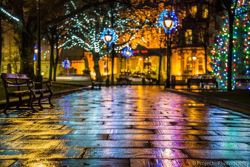 Colourful city lights EyeEmNewHere Trees Cityscape City Lights City Long Exposure Nightphotography Night Colours Colors colour of life Lights christmas tree Night Illuminated Rain Water Wet Reflection Architecture Multi Colored No People City Outdoors
