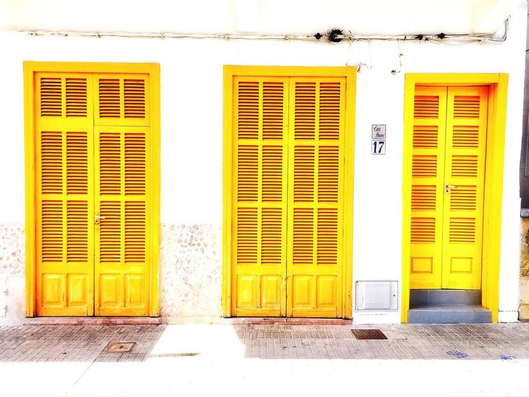 Door Closed Yellow Shutter Outdoors Built Structure Architecture Day Building Exterior Relaxing Doorway Tranquil Scene Yellow Color House Vacations Nautical Vessel Scenics The Week On EyeEm in Mallorca No People Doors Window Mix Yourself A Good Time Paint The Town Yellow Paint The Town Yellow