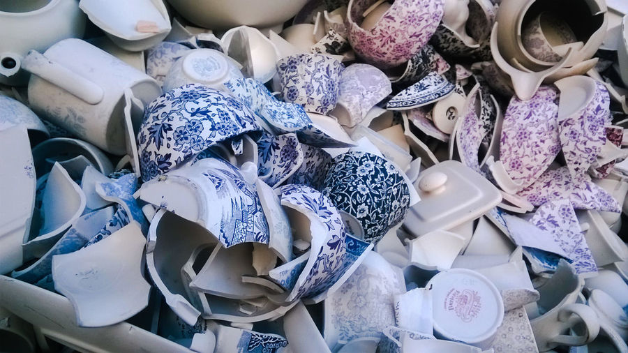 Broken Broken China China Chinaware Day EVERYTHING THAT HAS A BEGINNING HAS AN END Imperfect  Imperfection Indoors  Large Group Of Objects Middleport Pottery No People Pottery Rejected Seconds Shards Shards Of China Smashed Something Beautiful Remains Stoke-on-Trent