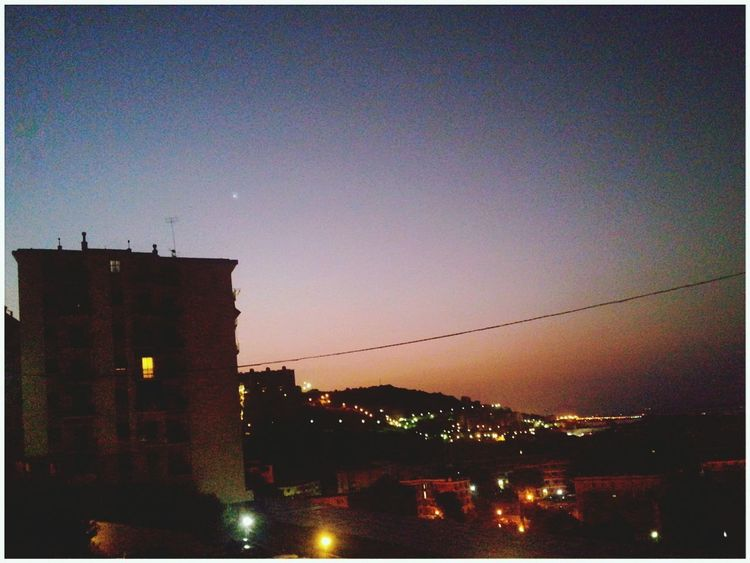 Venere Venus Sky Astronomy City Sunrise Building Exterior Night Dawn No People Outdoors Built Structure Illuminated Smartphone Photography Note 2 Android Photography Good Morning