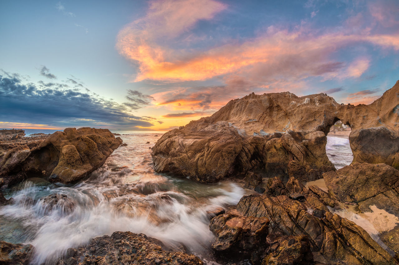 sky, nature, scenics, beauty in nature, water, sea, rock - object, sunset, cloud - sky, tranquil scene, idyllic, tranquility, no people, outdoors, scenery, day