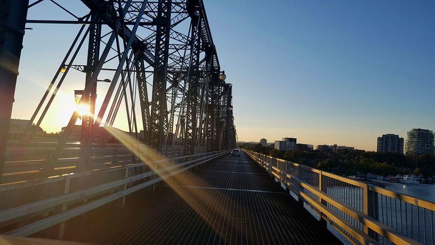 Sunset City Bridge Bridge View Urban Skyline Day Sky Rays Of Light Ray Rays Of The Sun Sunrise Sundown Sunray Iron Architecture View