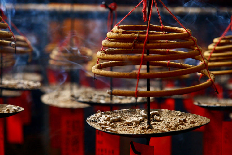 ASIA Buddhist Burning Burning Incense Calm Hong Kong Hong Kong City Insence Stick Ritual Smoke Smoky Buddhism Buddhist Temple Close-up Day Feeling Calm Focus On Foreground Hanging Indoors  Insense Mystical No People Religion
