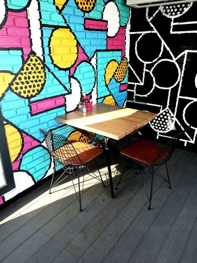 Creativity Multi Colored Street Art Chairs And Tables EyeEm New Here Silent Place Colorful Black And White Art Be. Ready.