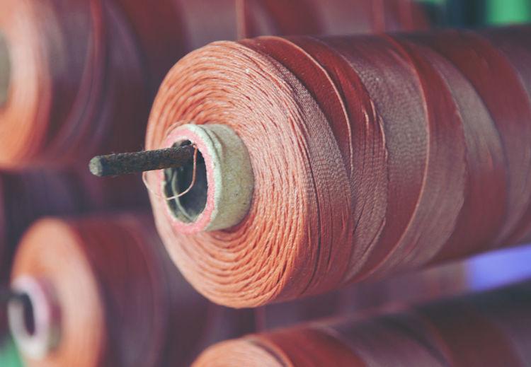 Close-up of thread spool