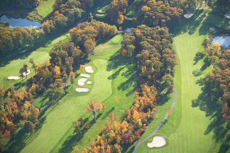 Aerial view of golf course in autmn