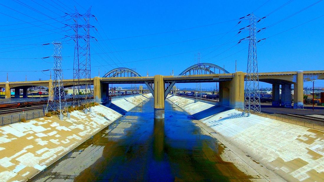 6thstreetbridge Downtown Los Angeles Calikid California Dreaming Famous Place Scenics California Horizon Day Staygolden Transportation Cityscape Architecture City Life Cityofangles Check This Out Road Hello World Enjoying Life Connection High Angle View No People Sky Blue Power Line