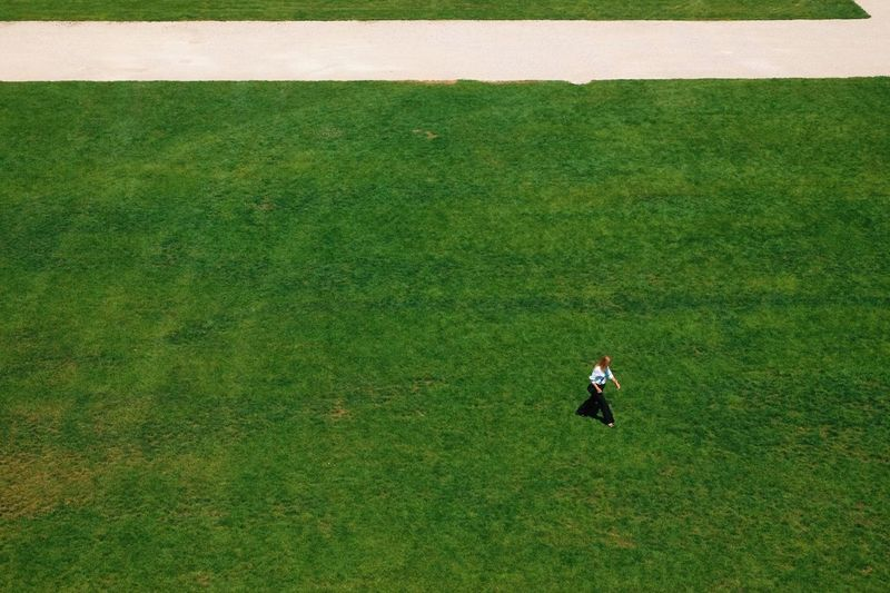 High angle view of man standing on field