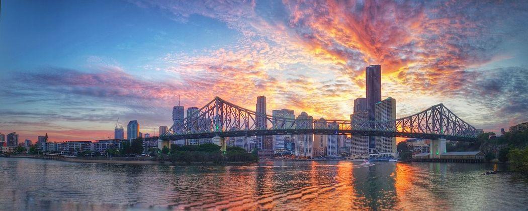 Brisbane City Cityscape Bridge Over Water Queensland Storey Bridge Panorama