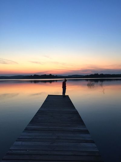 Sunset Pier Looking Into The Future Looking Down Water Lake What I Value