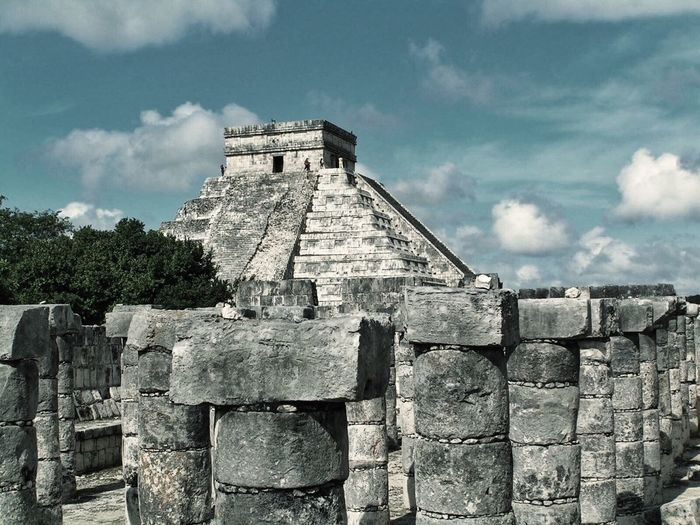 Chitza Nitza, Mexico Mayan Ruins Mexico Ancient Ancient Civilization Architecture Building Exterior Built Structure Cloud - Sky Day History Low Angle View Mayanculture No People Old Ruin Outdoors Sky Temple Tree