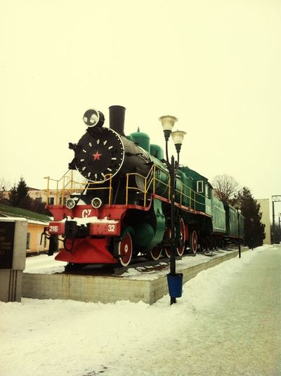 Old steam engine as a monument.