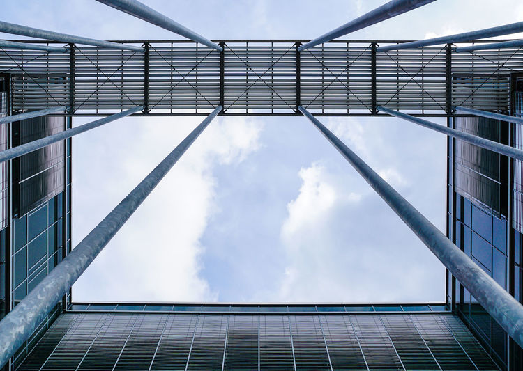 Architecture Blue Building Building Exterior Built Structure Cloud Cloud - Sky Cloudy Development Directly Below Low Angle View Modern No People Office Building Sky Tall - High