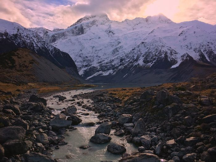 New Zealand Mount Cook valley Winter Fine Art Photography Khaled Hmaad Valley Winter New Zealand Natural New Zealand Landscape Mountain Scenics - Nature Sky Cloud - Sky Nature Snow Day