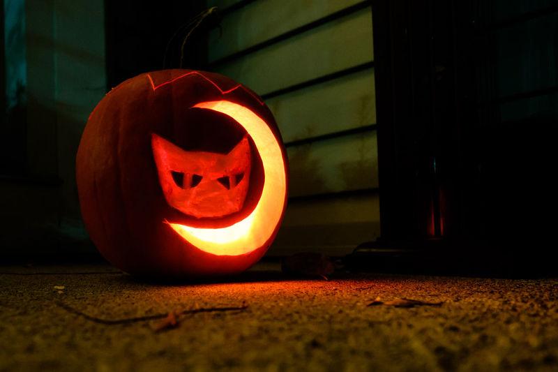 Close-up of illuminated pumpkin at night