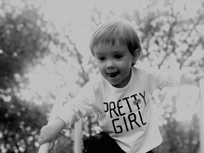 Childhood Black And White Child Front View Human Mouth Outdoors Children Only