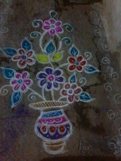 South in india pongal festival time... It is drawn using Rangoli