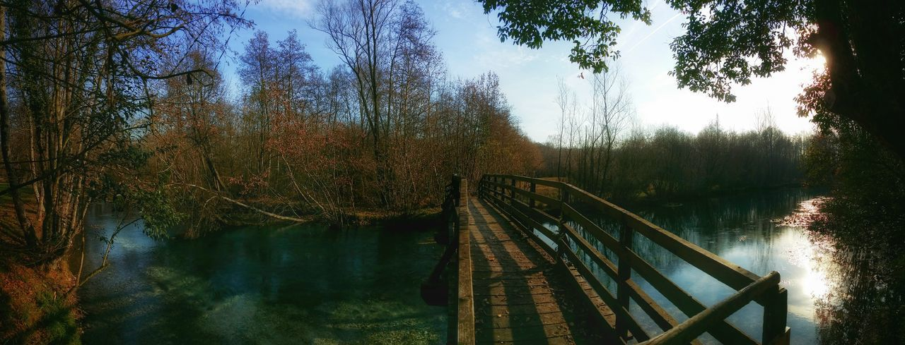Santissima Springs, Polcenigo, Italy Livenza River Water Streams Natural Parks Backlight Panoramic Views Wooden Bridges Reflections And Shadows Trees Silhouettes