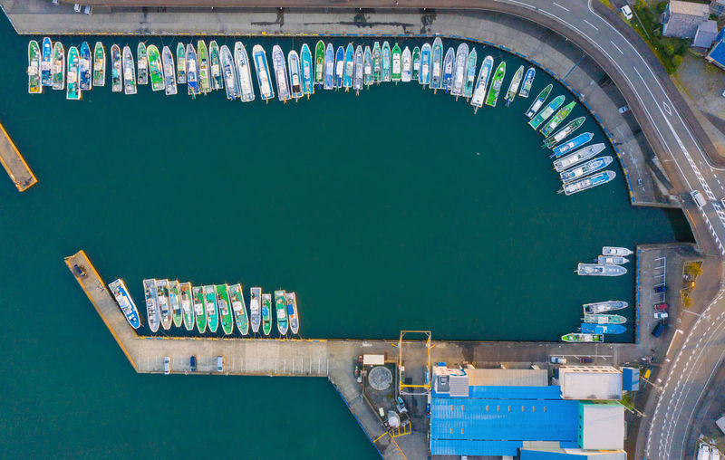 High angle view of boats in canal