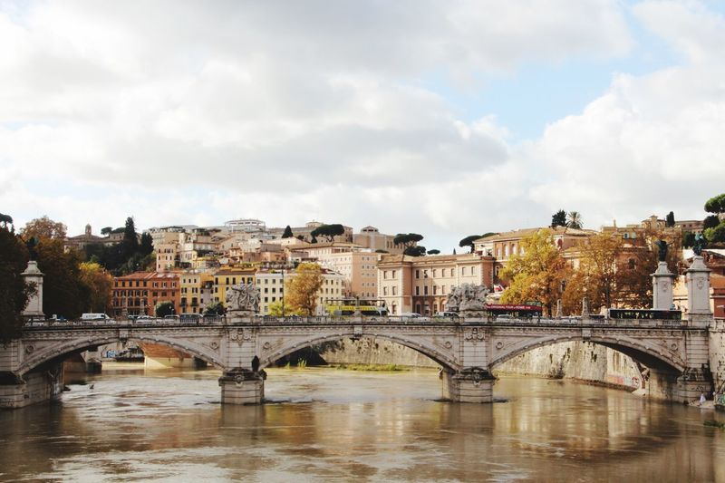 Rome, Italy Rom Bridge - Man Made Structure Architecture Connection Built Structure Arch Bridge Arch River Sky Cloud - Sky Water City Bridge Outdoors Day Building Exterior No People
