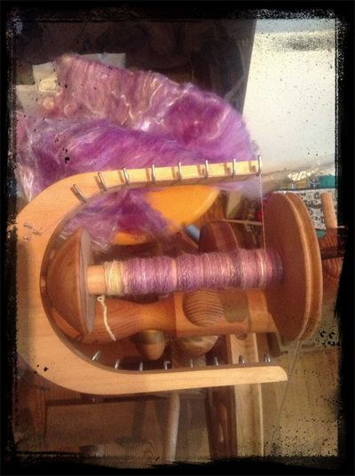 Listening To The Knit Knit Cafe And Spinning
