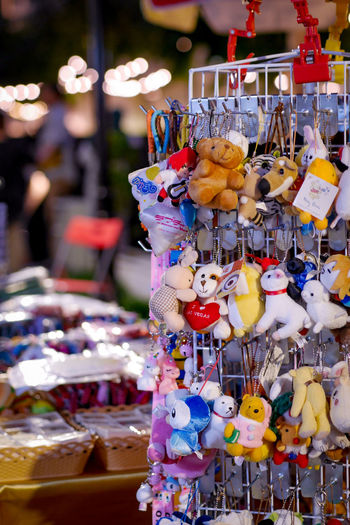 Toys for sale at market stall