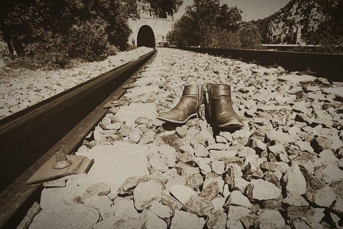 Rails Tunnel Bottes Chemin De Fer No People Pont Perspective