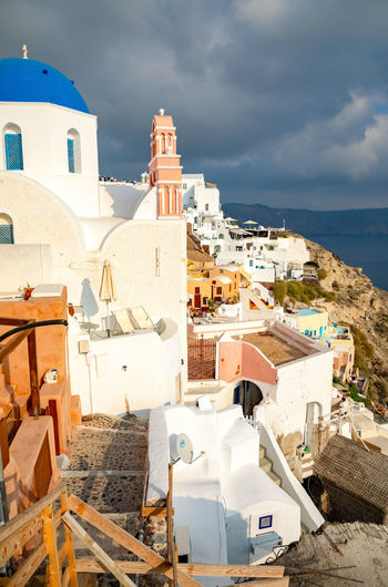 Greece Santorini Oia Thira Building Exterior Architecture Built Structure Building Cloud - Sky City Sky Nature Residential District Day High Angle View Dome Whitewashed Town Place Of Worship Sea No People Religion Community Sunlight Outdoors TOWNSCAPE