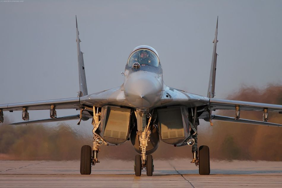 Air Force Aircraft Figther Frontal View Fulcrum Head On Mig-29 Mikoyan I Gurevich Mikoyan Mig-29 Runway Sunset
