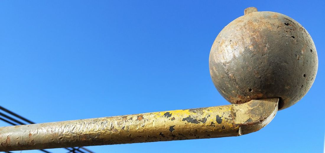 Metal Industrial Blue Sky Heavy Weathered Metal Ball Metal Round Circle Sky Close-up Rusty Geometric Shape Deterioration Damaged Abandoned